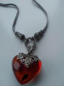 Vintage Amber Necklace in Sterling Silver