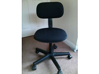 Swivel office / study chair with adjustable back, black fabric finish and base, very good condition