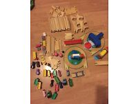 Wooden train set 90 pieces