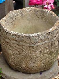 Large stone decorative planter very old
