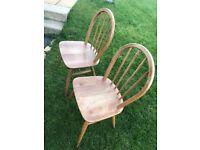 2 x Ercol hoop back Windsor chairs model 400