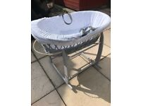 Clair de Lune Stars and Stripes Grey Wicker Moses Basket with Grey Lining