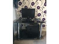 Black Glass and Chrome TV Table/Computer Desk