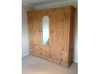 Pine Wardrobe - Triple hanging with drawers under. Wonderful but too big for new home.