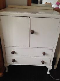 White shabby chic cabinet - cupboard and drawers