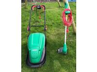 ALMOST NEW!!! - Qualcast electric hover lawnmower and strimmer