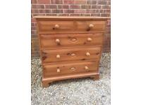 SOLD. Solid chunky pine chest of drawers.