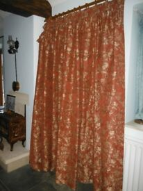 Very wide full-length lined curtains, never used, terracotta, with pelmets
