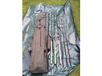 Fox Warrior Full Cork Rods x 3 and a quiver