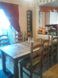 6ft dining table and six chairs solid wood