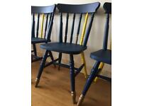 4x solid pine Marks & Spencer's dining table chairs blue yellow and copper country kitchen