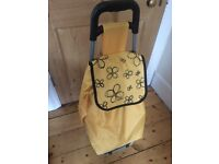 Yellow wheeled shopping trolley - v good condition