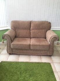 2 Sofas (3 seater & 2 seater) Light Brown Chenille. Immaculate Condition.