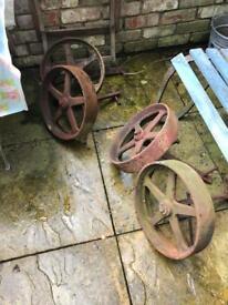 Cast iron chicken or Shepard's huts wheels