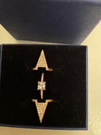 Swarovski rose gold and diamanté ring set