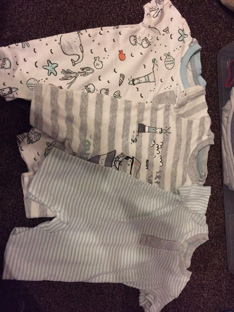 Three beach themed 0-3 months romper suits