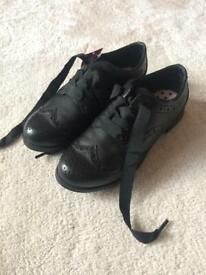 Kids black M&S school shoes