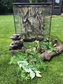 Exo Terro reptile viv vivarium tank LED waterfall thermometer kit