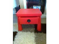 ikea children bedside table red