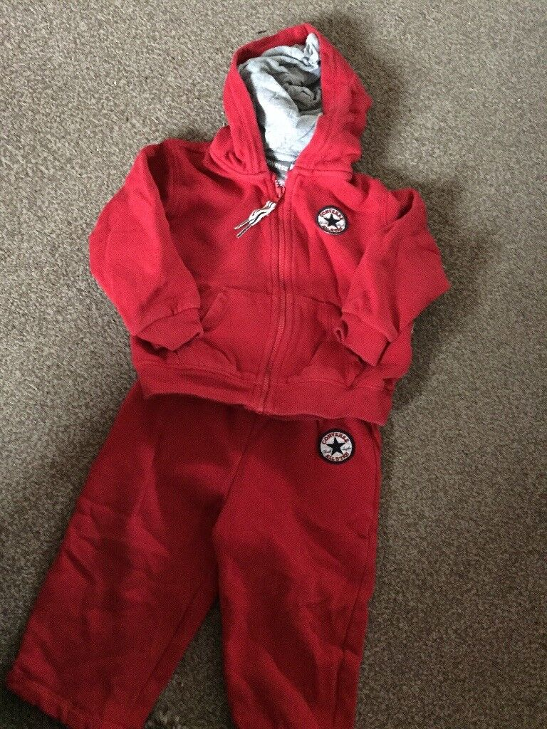 Red converse jogger suit