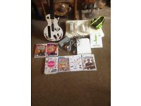 NINTENDO WII & BALANCE BOARD & GUITAR HERO & GAMES
