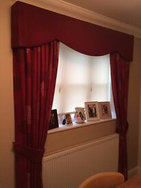 curtains - fully lined, with velvet pelmet and fittings
