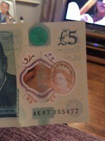 Very rare 5 pound note.