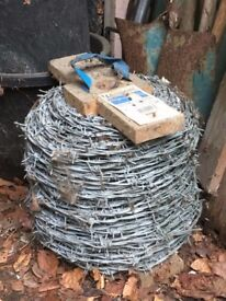 Unused 200m roll of 2.5mm mild steel barbed wire