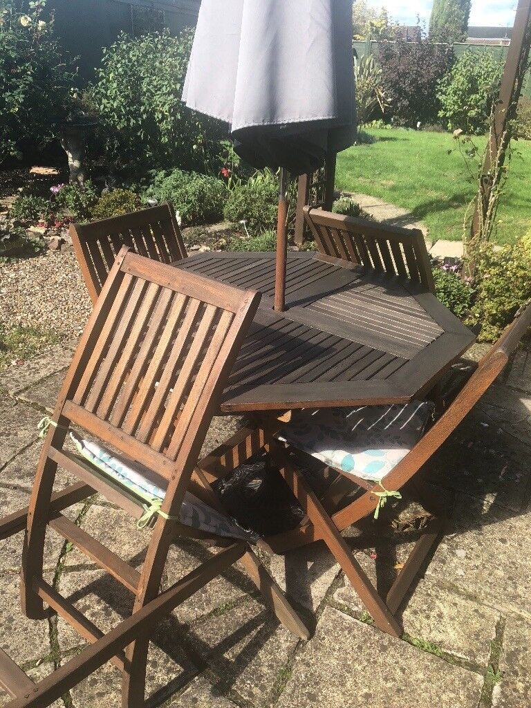 16f526c60009 Wooden garden table (octagon) and 4 chairs plus parasol. | in ...