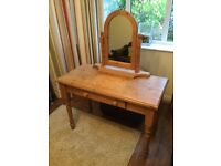 Solid pine dressing table, swivel mirror and front draw