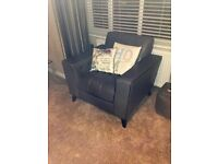 ARMCHAIR GREY LEATHER WITH BLACK PIPING FROM DFS