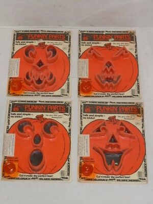 VINTAGE 1980 HALLOWEEN FACE IT WITH PUNKIN PARTS PUMPKIN CARVING KIT LOT OF (4) - Halloween Pumpkin Faces Carving