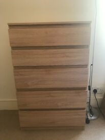 Ikea chest of drawers nearly new!! Light wood
