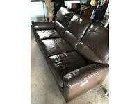 Brown 3 seater recliner couch