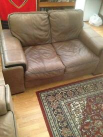 Brown leather sofas!