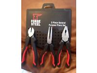 BRAND NEW STILL ON TAG ELECTRICAL Forge Steel General Purpose Pliers Set 3 Pieces (4392C) WYMONDHAM