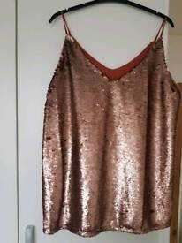 BRAND NEW womens bronze sequin top size 14