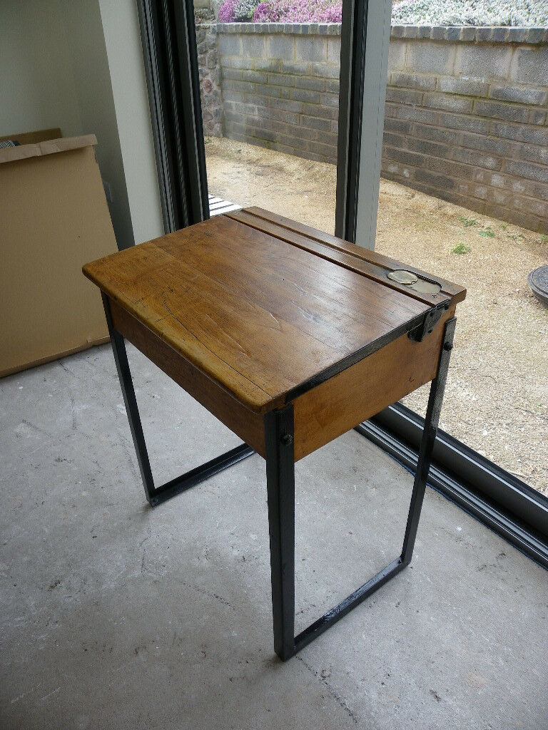 Vintage School Desk With Metal Legs