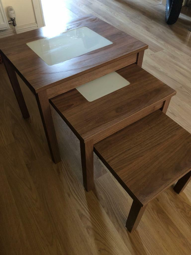 Nest Of 3 Side Tables Walnut Effect
