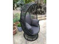 Garden 'egg' chair. Black with 4 super comfy cushions. Superb condition. Steel frame.