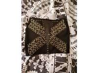 Black with gold detail mini skirt M 10-12