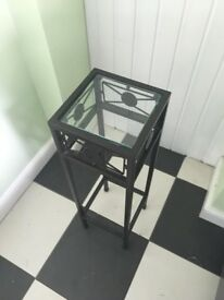 BLACK METAL AND GLASS BEDSIDE TABLE