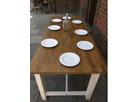 Large rustic refectory dining/kitchen table/drawer. Shabby chic/farmhouse. Seats 8/10.