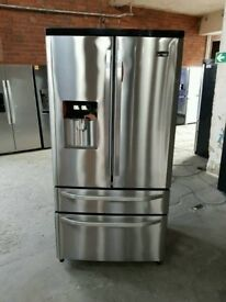 Stainless Steel AAA+++ RangeMaster American Style Frost Free Fridge Freezer With Water Dispenser