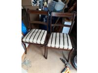 Dining Chairs - Pair wooden vintage