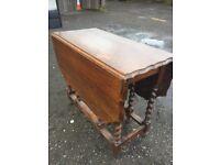 vintage solid oak gateleg dining table on barley twist legs