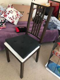 Extendable Ikea table BJURSTA Dark brown + 2 Ikea chairs