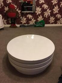 White gloss round coffee table three tier rotating well built slight cosmetic damage