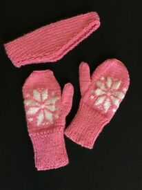Children's HAnd Knitted Mittens with matching Ear Warmer in a pink sparkle yarn.