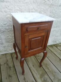 Antique French Marble Topped Bedside Table/ Night Stand c1900